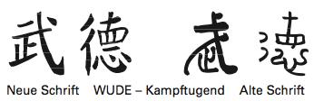 Neue Schrift  WUDE – Kampftugend  Alte Schrift