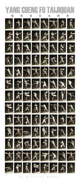 Yang Chengfu: Poster der Taijiquan-Langform im Großformat