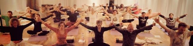 Yoga-Übungs-Gruppe